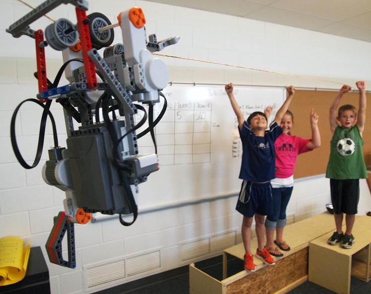 Robot sur cable en salle de classe